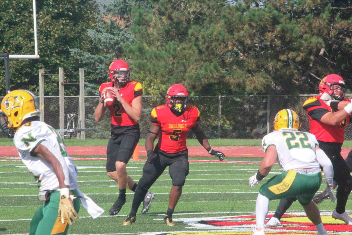 Ferris quarterback Evan Cummins (2) looks for a receiver during a 2019 FSU home contest against Northern Michigan. Cummins is expected to be among the contenders for the job during the 2021 season. (Pioneer file photo)