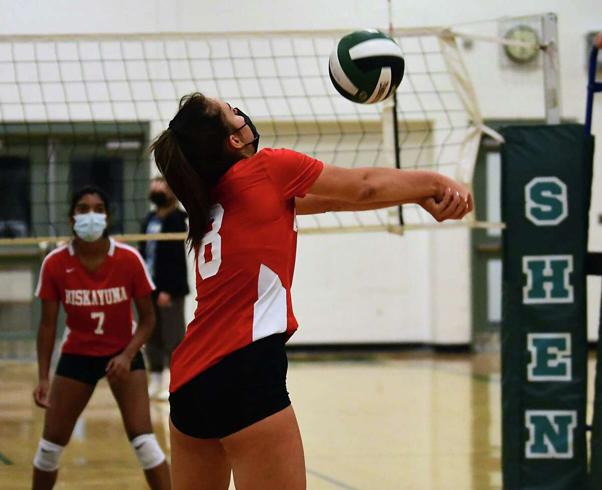 Niskayuna's Cat Schiavi bumps the ball during the Suburban Council semifinal volleyball game against Shenendehowa on Thursday, April 29, 2021 in Clifton Park, N.Y. (Lori Van Buren/Times Union)