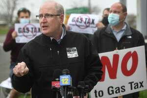 State Senate Republican Leader Kevin Kelly speaks at a rally in Stratford last month.