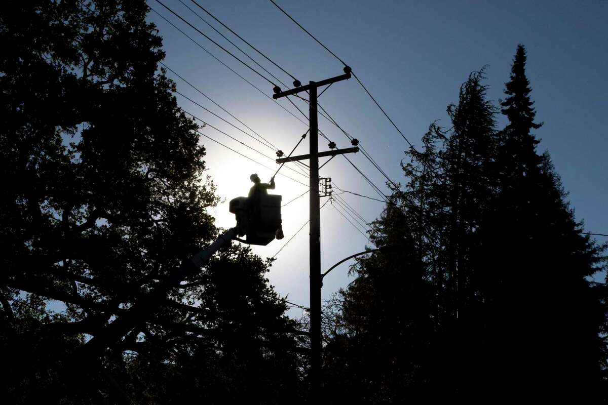 PG&E line inspector Kevin Ogans works to clear power lines so that crews can begin removing a tree that crashed into the lines along Mountain Boulevard in Oakland last October.