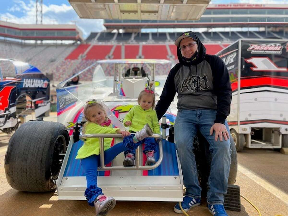Keith Flach and his daughters take in the sights at Bristol Motor Speedway.