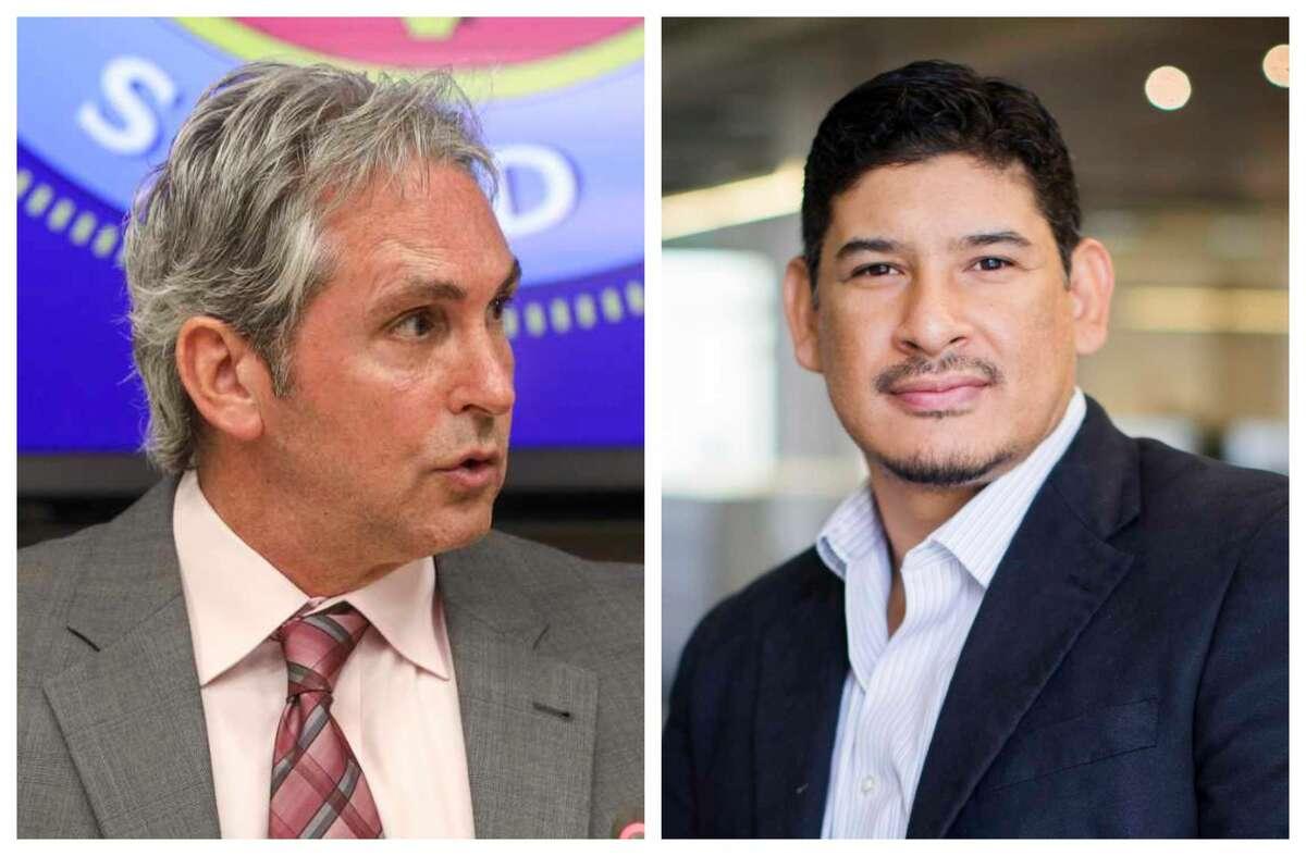 Pasadena Mayor Jeff Wagner, left, and challenger David Flores.