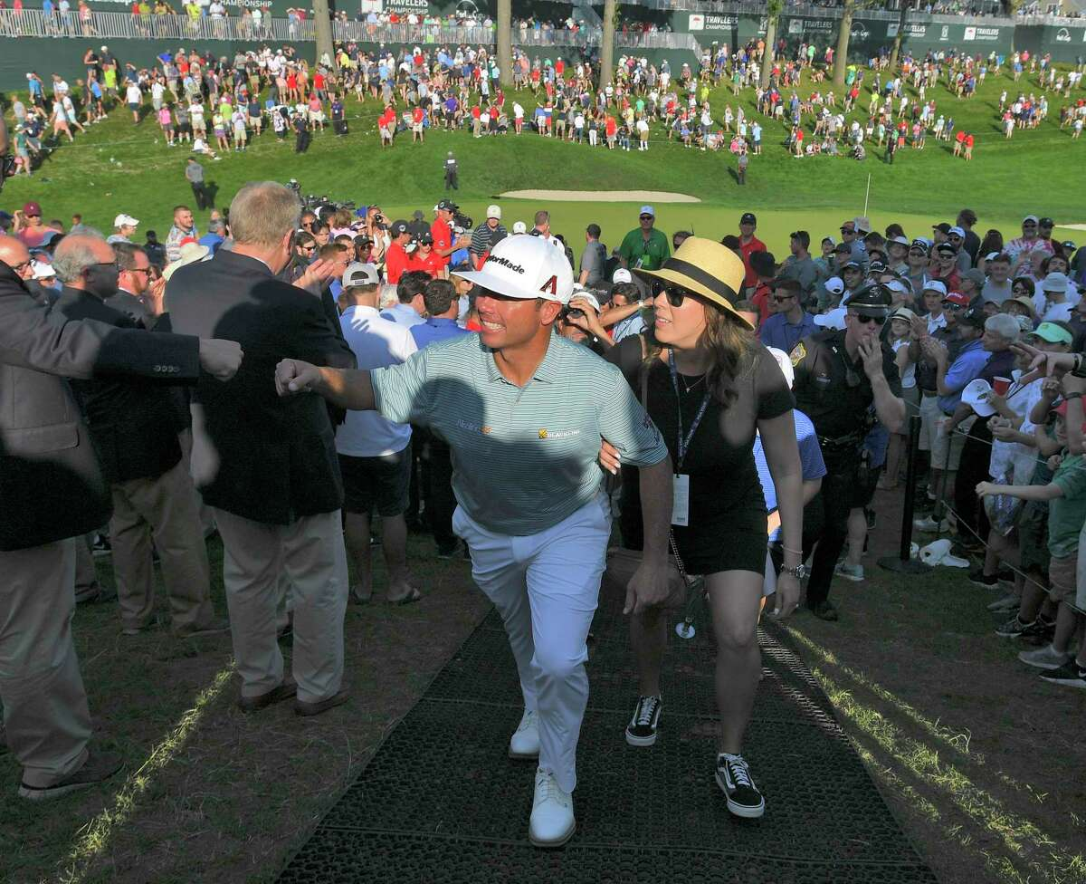 CROMWELL, CT - JUNE 23: Chez Reavie acknowledges fans after winning the Travelers Championship at TPC River Highlands on June 23, 2019 in Cromwell, Connecticut. (Photo by Stan Badz/PGA TOUR via Getty Images)