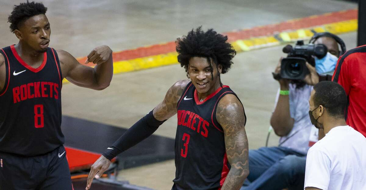 Houston Rockets guard Kevin Porter Jr. (3) reacts after making a shot and drawing a foul during the third quarter of an NBA game between the Houston Rockets and Milwaukee Bucks on Thursday, April 29, 2021, at Toyota Center in Houston.