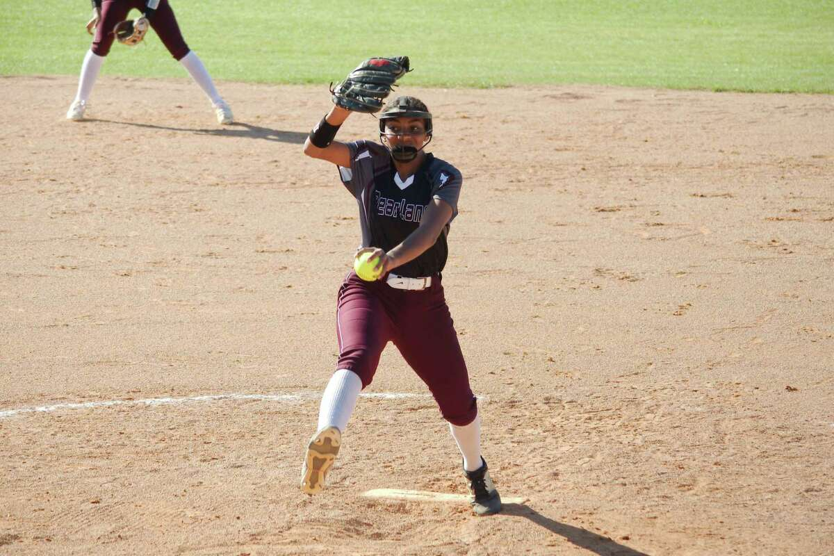 Pearland's Abigail Gutierrez (27) pitched a six-inning no-hitter Thursday night in the Lady Oilers' 11-0 win over Dickinson.