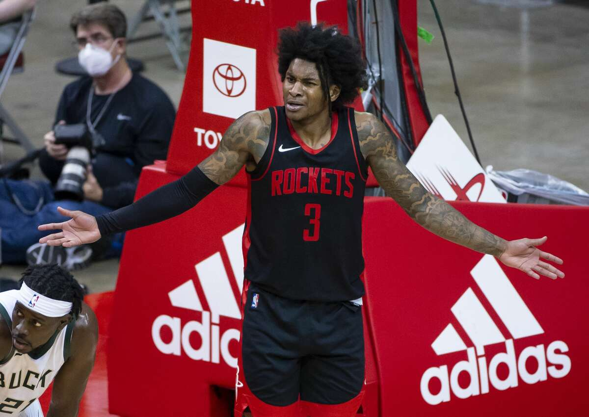 Houston Rockets guard Kevin Porter Jr. (3) reacts to a non-call during the third quarter of an NBA game between the Houston Rockets and Milwaukee Bucks on Thursday, April 29, 2021, at Toyota Center in Houston.
