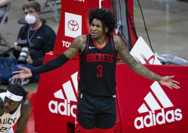 Houston Rockets guard Kevin Porter Jr. (3) reacts to a non-call during the third quarter of an NBA game between the Houston Rockets and Milwaukee Bucks on Thursday, April 29, 2021, at Toyota Center in Houston. Photo: Mark Mulligan/Staff Photographer / © 2021 Mark Mulligan / Houston Chronicle