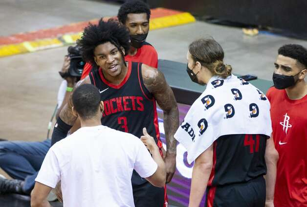 Houston Rockets guard Kevin Porter Jr. (3) reacts after making a shot and drawing a foul during the third quarter of an NBA game between the Houston Rockets and Milwaukee Bucks on Thursday, April 29, 2021, at Toyota Center in Houston. Photo: Mark Mulligan/Staff Photographer / © 2021 Mark Mulligan / Houston Chronicle