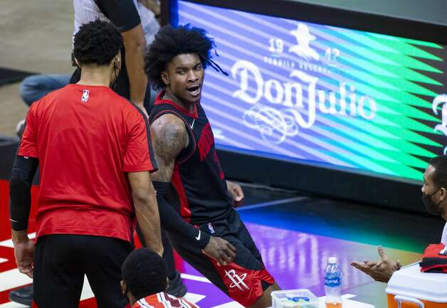 Houston Rockets guard Kevin Porter Jr. (3) reacts after drawing a foul on a drive during the third quarter of an NBA game between the Houston Rockets and Milwaukee Bucks on Thursday, April 29, 2021, at Toyota Center in Houston. Photo: Mark Mulligan/Staff Photographer / © 2021 Mark Mulligan / Houston Chronicle