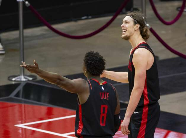 Houston Rockets forward Kelly Olynyk (41) and Houston Rockets forward Jae'Sean Tate (8) react to a call during the second quarter of an NBA game between the Houston Rockets and Milwaukee Bucks on Thursday, April 29, 2021, at Toyota Center in Houston. Photo: Mark Mulligan/Staff Photographer / © 2021 Mark Mulligan / Houston Chronicle