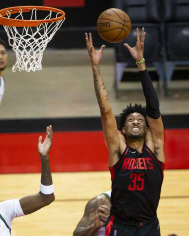 Houston Rockets center Christian Wood (35) pulls down a rebound during the first quarter of an NBA game between the Houston Rockets and Milwaukee Bucks on Thursday, April 29, 2021, at Toyota Center in Houston. Photo: Mark Mulligan/Staff Photographer / © 2021 Mark Mulligan / Houston Chronicle