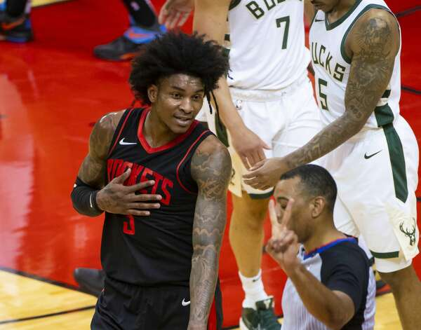Houston Rockets guard Kevin Porter Jr. (3) talks to an official during the first quarter of an NBA game between the Houston Rockets and Milwaukee Bucks on Thursday, April 29, 2021, at Toyota Center in Houston. Photo: Mark Mulligan/Staff Photographer / © 2021 Mark Mulligan / Houston Chronicle
