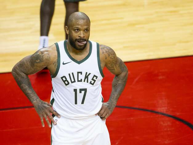 Milwaukee Bucks forward P.J. Tucker (17) reacts after a play during the first quarter of an NBA game between the Houston Rockets and Milwaukee Bucks on Thursday, April 29, 2021, at Toyota Center in Houston. Photo: Mark Mulligan/Staff Photographer / © 2021 Mark Mulligan / Houston Chronicle