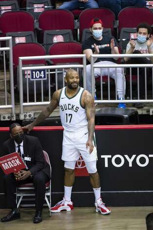 Milwaukee Bucks forward P.J. Tucker (17) smiles after trying to run a ball down during the first quarter of an NBA game between the Houston Rockets and Milwaukee Bucks on Thursday, April 29, 2021, at Toyota Center in Houston. Photo: Mark Mulligan/Staff Photographer / © 2021 Mark Mulligan / Houston Chronicle