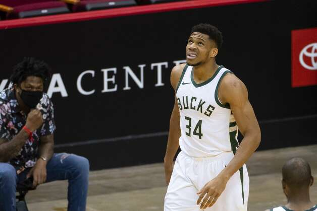 Milwaukee Bucks forward Giannis Antetokounmpo (34) reacts after being fouled during the first quarter of an NBA game between the Houston Rockets and Milwaukee Bucks on Thursday, April 29, 2021, at Toyota Center in Houston. Photo: Mark Mulligan/Staff Photographer / © 2021 Mark Mulligan / Houston Chronicle