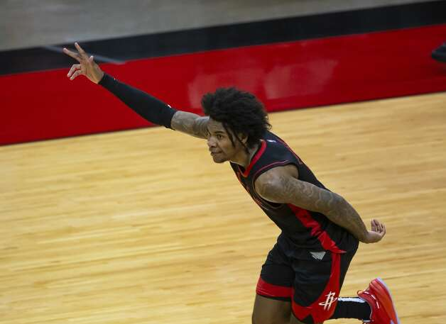 Houston Rockets guard Kevin Porter Jr. (3) celebrates after hitting another 3-point shot during the fourth quarter of an NBA game between the Houston Rockets and Milwaukee Bucks on Thursday, April 29, 2021, at Toyota Center in Houston. Porter Jr. scored a career-high 50 points during the Rockets' 143-136 win over the Milwaukee Bucks. Photo: Mark Mulligan/Staff Photographer / © 2021 Mark Mulligan / Houston Chronicle
