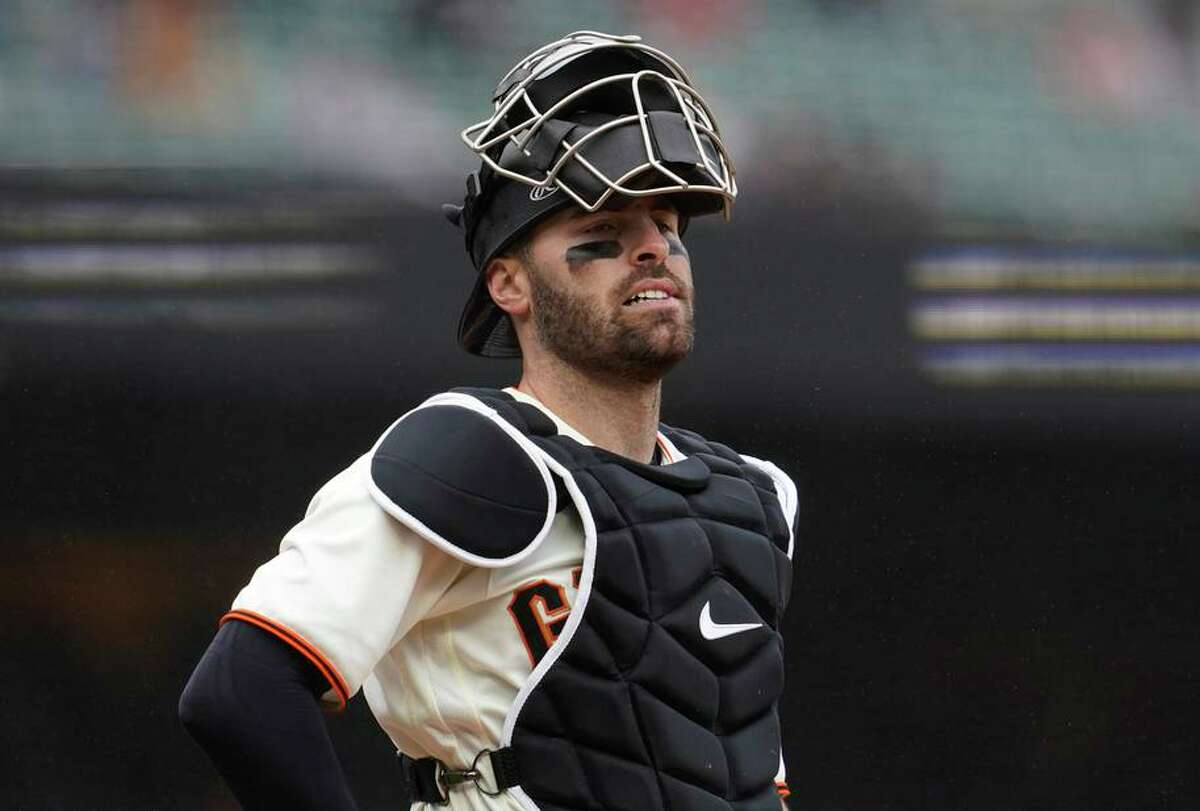 """Giants catcher Curt Casali said, """"It's exhausting, but it's really fun when you can get into the mind of a hitter and trick them."""""""