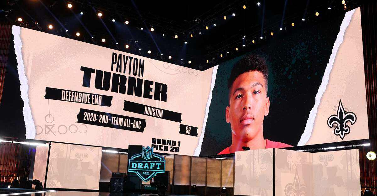 NFL Commissioner Roger Goodell announces Payton Turner as the 28th selection by the New Orleans Saints during round one of the 2021 NFL Draft at the Great Lakes Science Center on April 29, 2021 in Cleveland, Ohio. (Photo by Gregory Shamus/Getty Images)