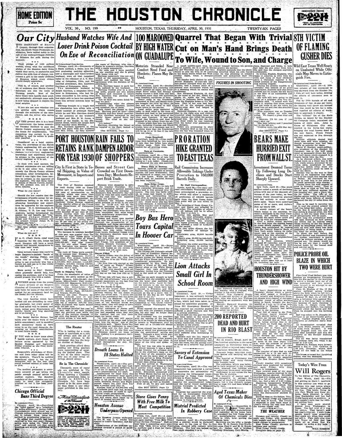 Houston Chronicle front page from April 30, 1931.