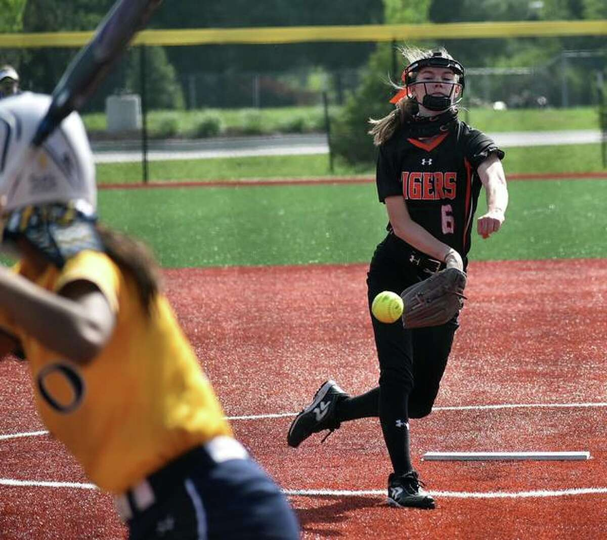 Edwardsville starting pitcher Ryleigh Owens delivers a pitch to an O'Fallon hitter in the first inning on Thursday's game inside Plummer Family Park in Edwardsville.