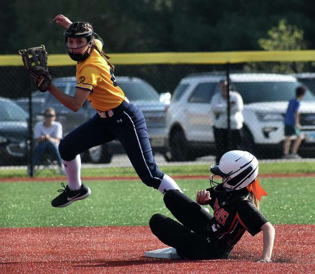 O'Fallon second baseman Ryah Baglia forces out Edwardsville's Grace Blakemore at second base in the fifth inning.