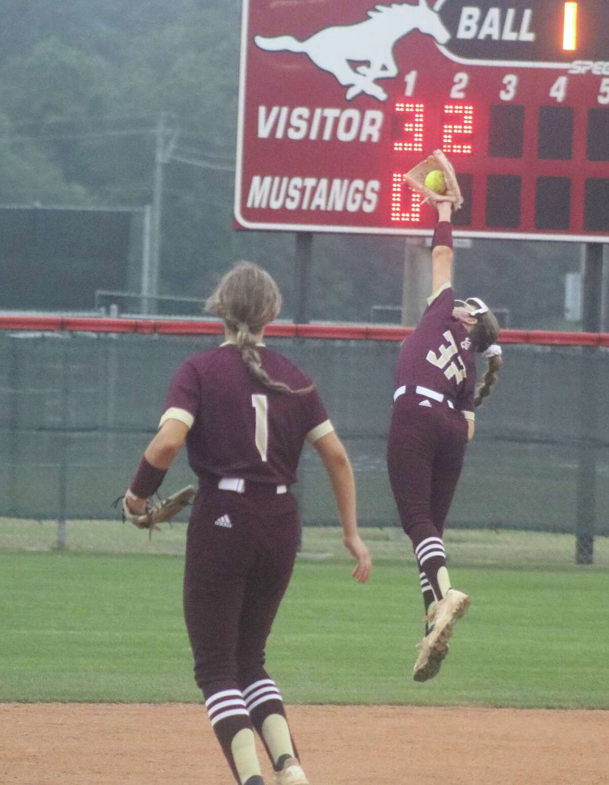 Deer Park shortstop Madison Bailey makes a beautiful catch during second-inning action Thursday night.