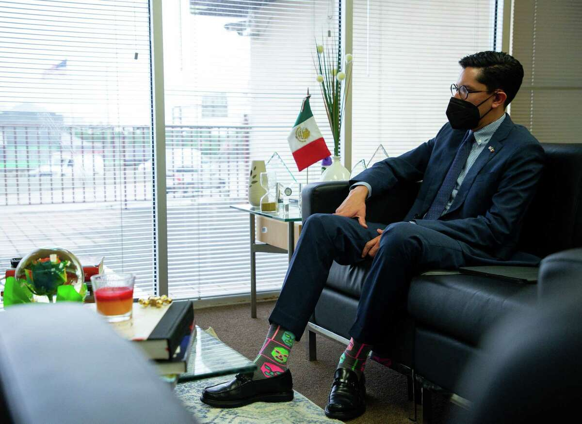 Roberto Velasco, director general for North America of Mexico's Secretary of Foreign Affairs, talks with the Houston Chronicle inside the Mexican Consulate on Thursday, April 29, 2021, in Houston.