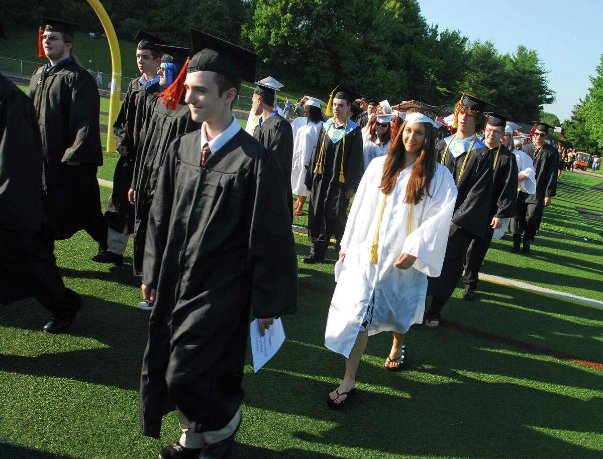 Brad Horrigan   New Haven Register. Shelton, Connecticut : Shelton High School graduation Friday evening.