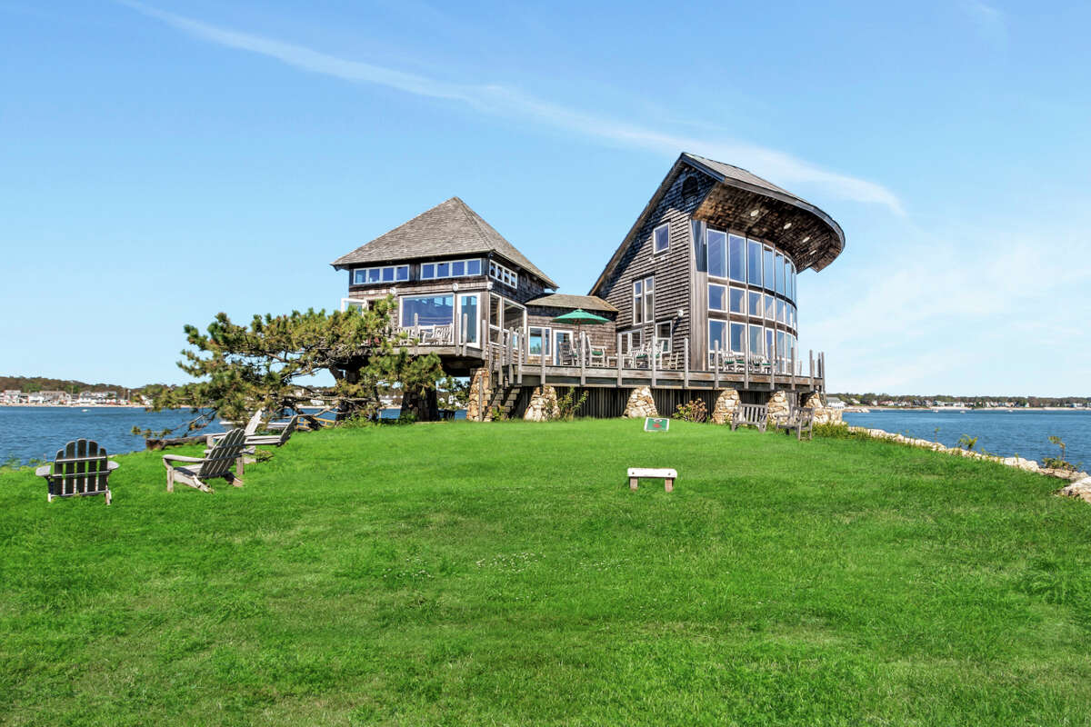 The exterior of the Green Island home has views of Branford's Thimble Islands and Long Island Sound, as well as Limewood Beach. View listing