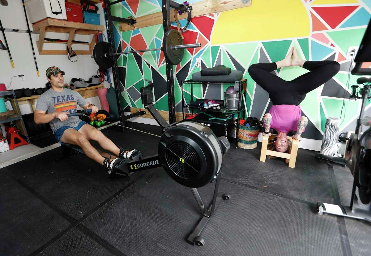 Melanie Rushe, wellness director at alliantgroup, with her partner Etienne Brown created at home gym in their detached garage.