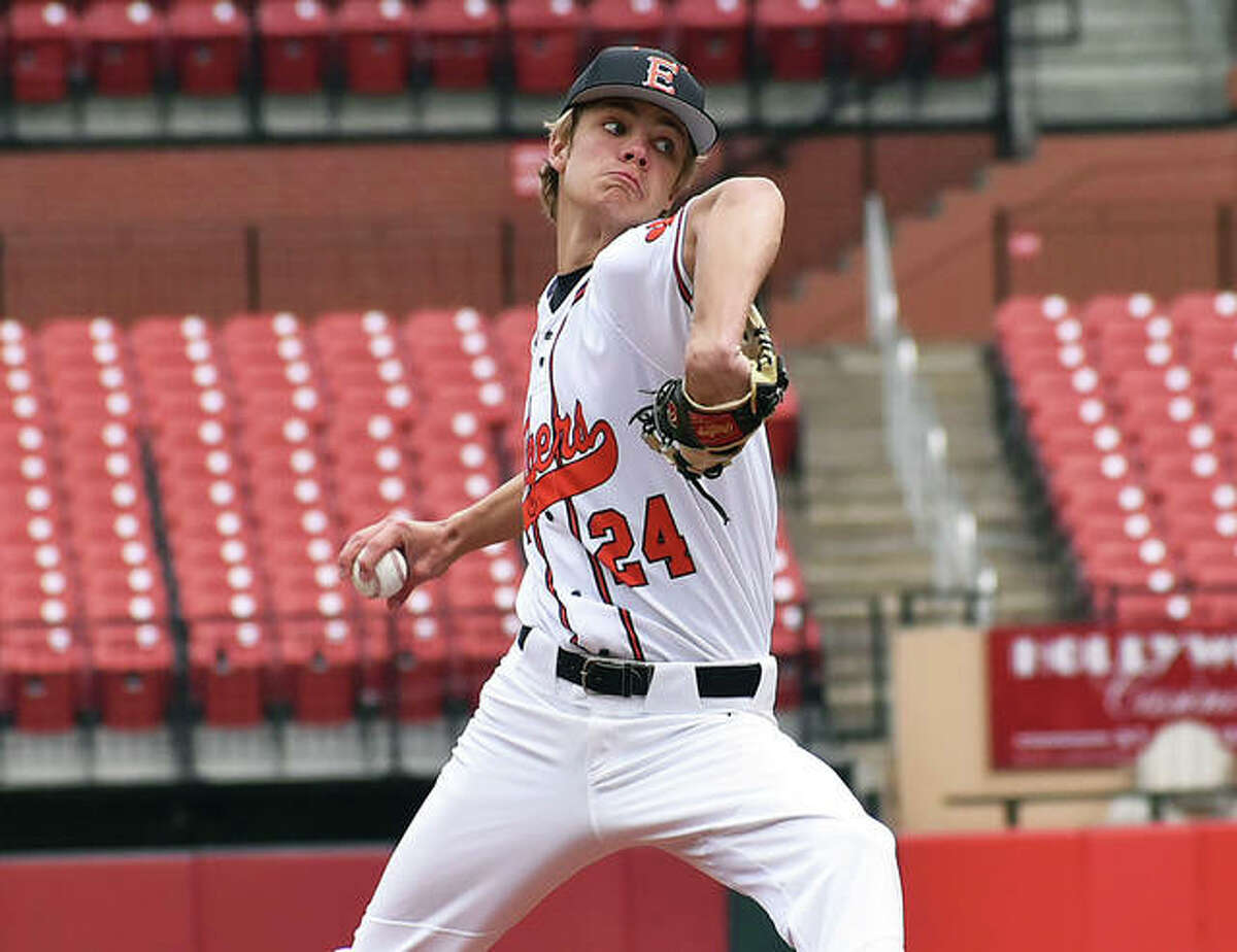 Edwardsville pitcher Quinn Weber, shown throwing in a Busch Stadium game earlier this season, threw a complete-game Thursday to lead the Tigers to a SWC victory at O'Fallon.