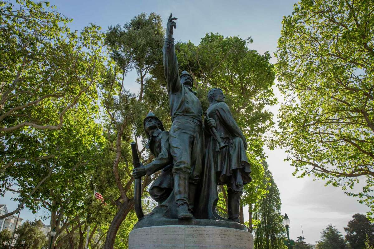 The statue in San Francisco's Washington Square honoring volunteer firefighters, on April 29, 2021.