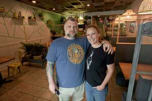 Steph Sweeney, right, and Jeff Taibe, owners of Taproot Restaurant in Bethel.