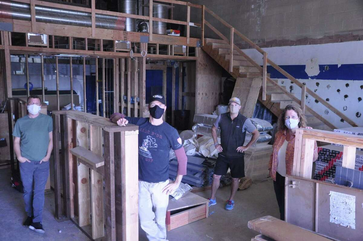 The Monk's Kettle Terra Linda team - Nat Cutler (left), Christian Albertson, Jeff Jordan and Allison Jordan - seen at the beginning of the construction process.