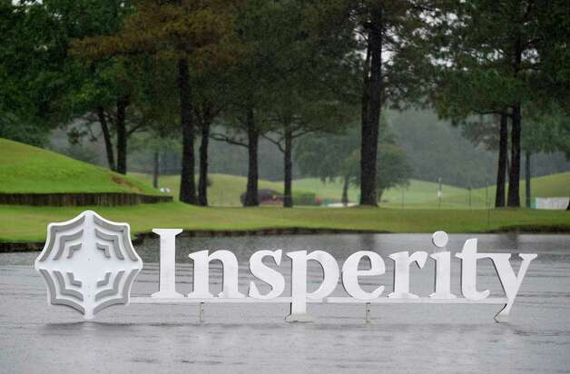 Rain falls near the 18th green during a rain delay during the first round of the Insperity Invitational golf tournament, Friday, April 30, 2021, in The Woodlands, TX. Photo: Eric Christian Smith, Contributor