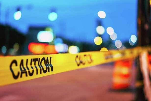 A crime scene taped off.