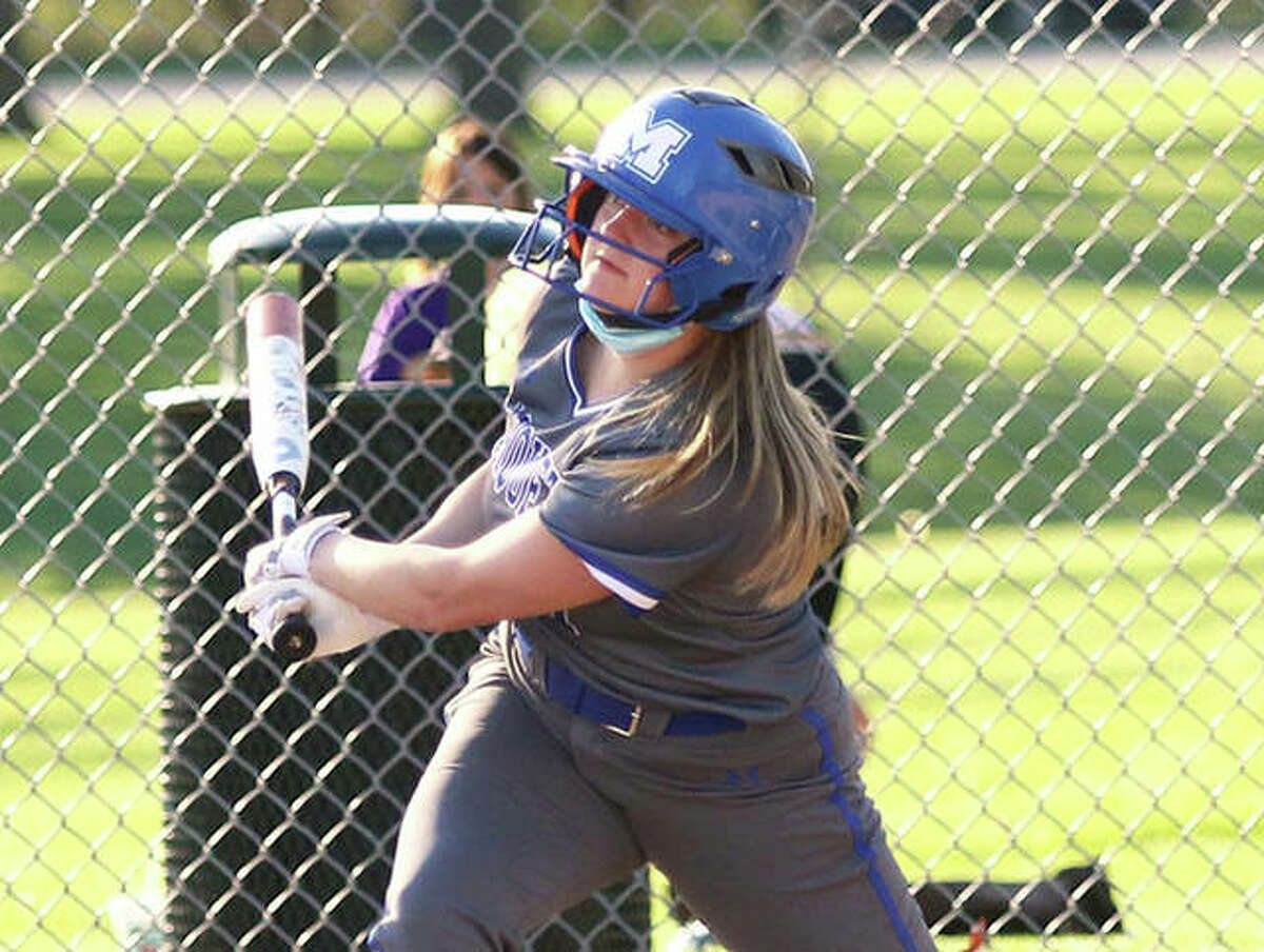 Marquette's KB Kirchner, shown watching her double split the gap in a game against CM earlier this season at Moore Park, had two hits in the Explorers victory Thursday over Pleasant Hill in Alton.