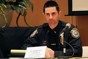 Wilton Police Department's Robert Cipolla was one of the speakers at a conversation on addressing domestic violence, hosted by the Wilton Domestic Violence Task Force on April 28.