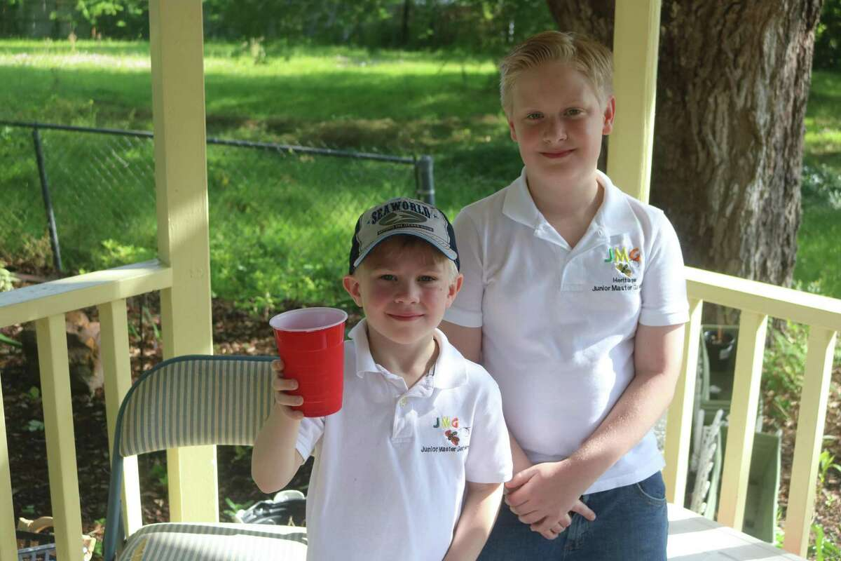 Timothy Shelley, left, and brother Liam, members of the Junior Masters Gardeners, were selling lemonade at Saturday's event.