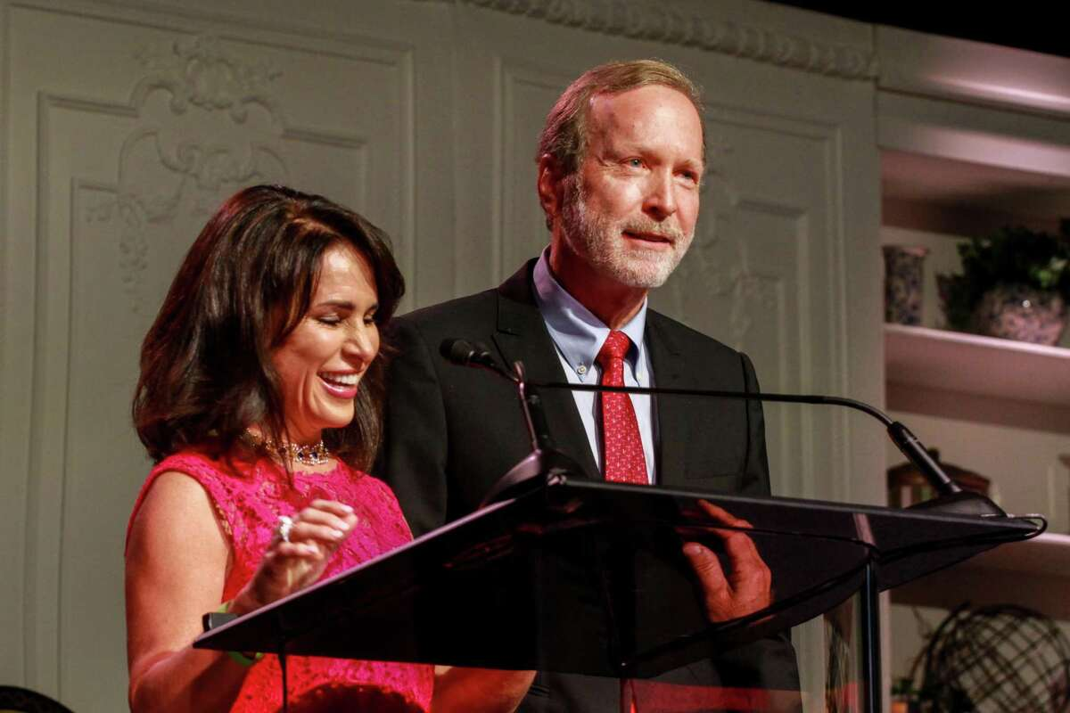 Maria and Neil Bush at the Celebration of Reading in Houston on April 29, 2021.