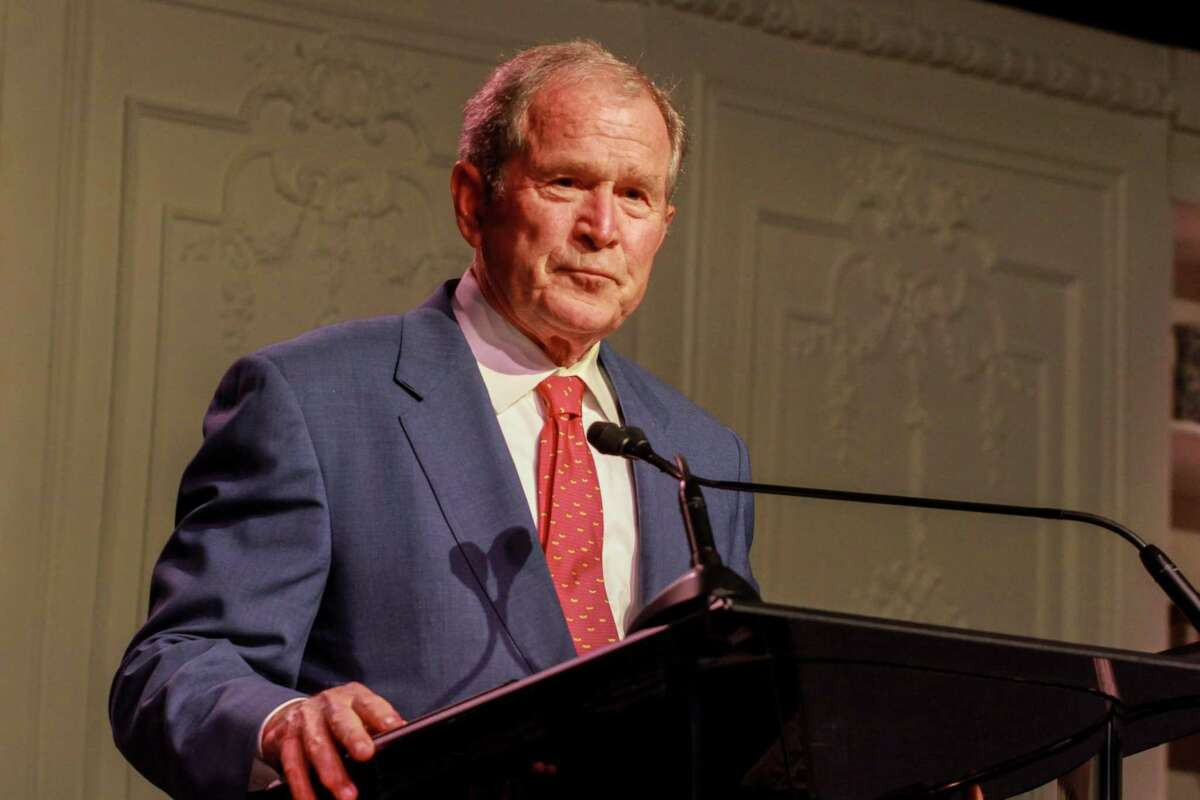 George W. Bush speaking at the Celebration of Reading in Houston on April 29, 2021.