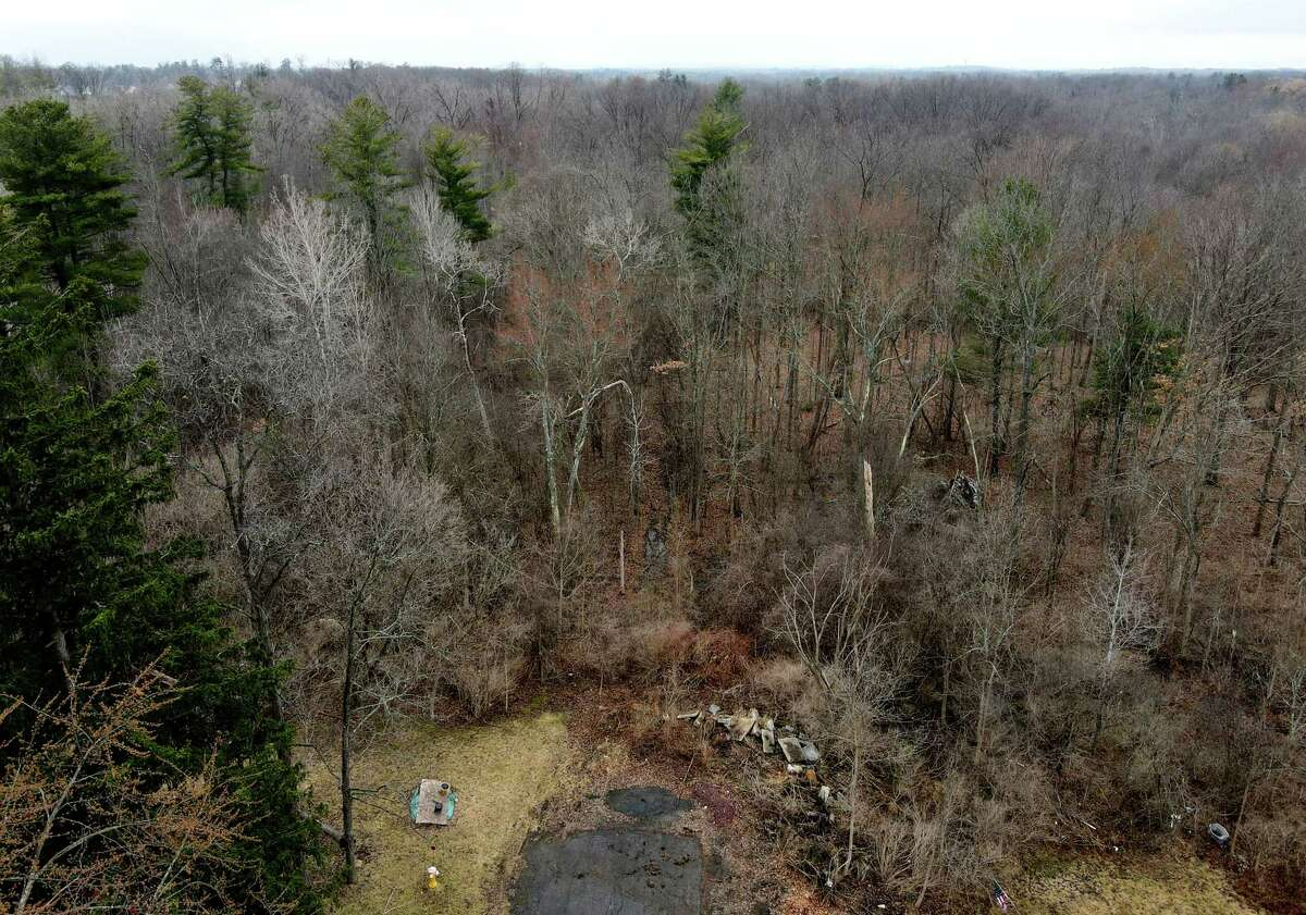 Wooded area at the end on Rudge Street where police are investigating the discovery of human remains on Friday, March 26, 2021, in Niskayuna, N.Y.