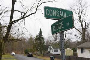 Rudge Street where police are investigating the discovery of human remains found in wooded land at the end of the street on Friday, March 26, 2021, in Niskayuna, N.Y. (Will Waldron/Times Union)