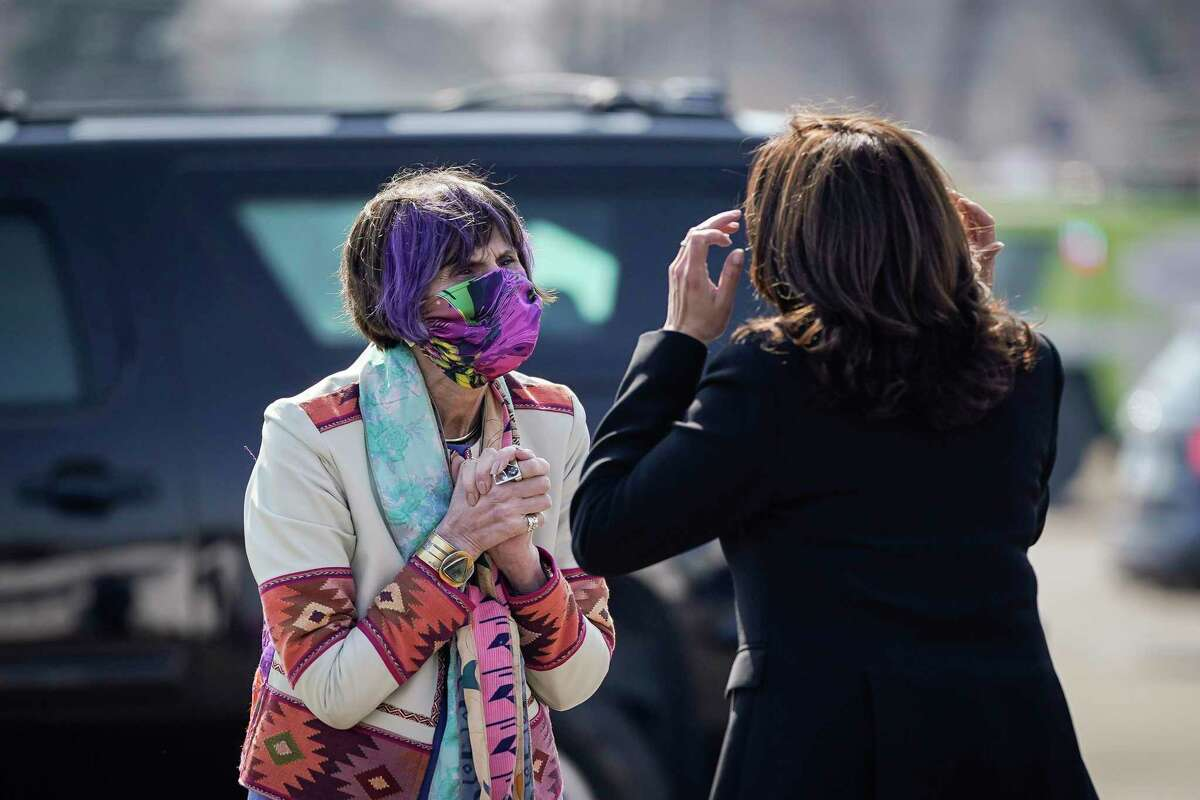 Rep. Rosa DeLauro, D-3, greets Vice President Kamala Harris upon her arrival at Tweed-New Haven Airport on March 26 in New Haven.