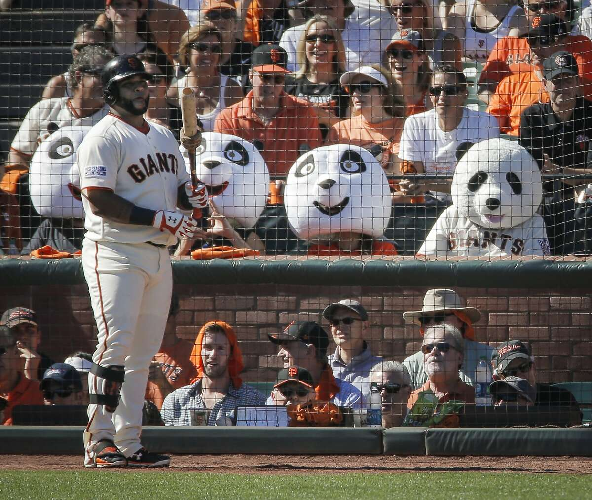 Giants Pablo Sandoval stands in the on deck circle during Game 3 of the NLDS at AT&T Park on Monday, Oct. 6, 2014 in San Francisco, Calif.