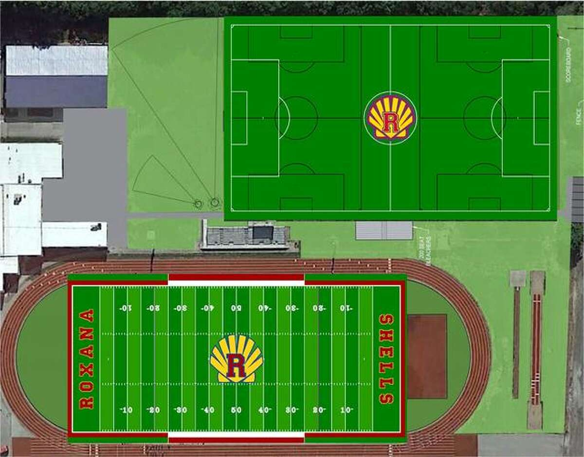 An artists' rendering of two artificial turf fields fields proposed for Roxana Hgh School. The bottom field is where the current football field, Charles Raich Field, is located. The top field would be used by the RHS soccer teams.