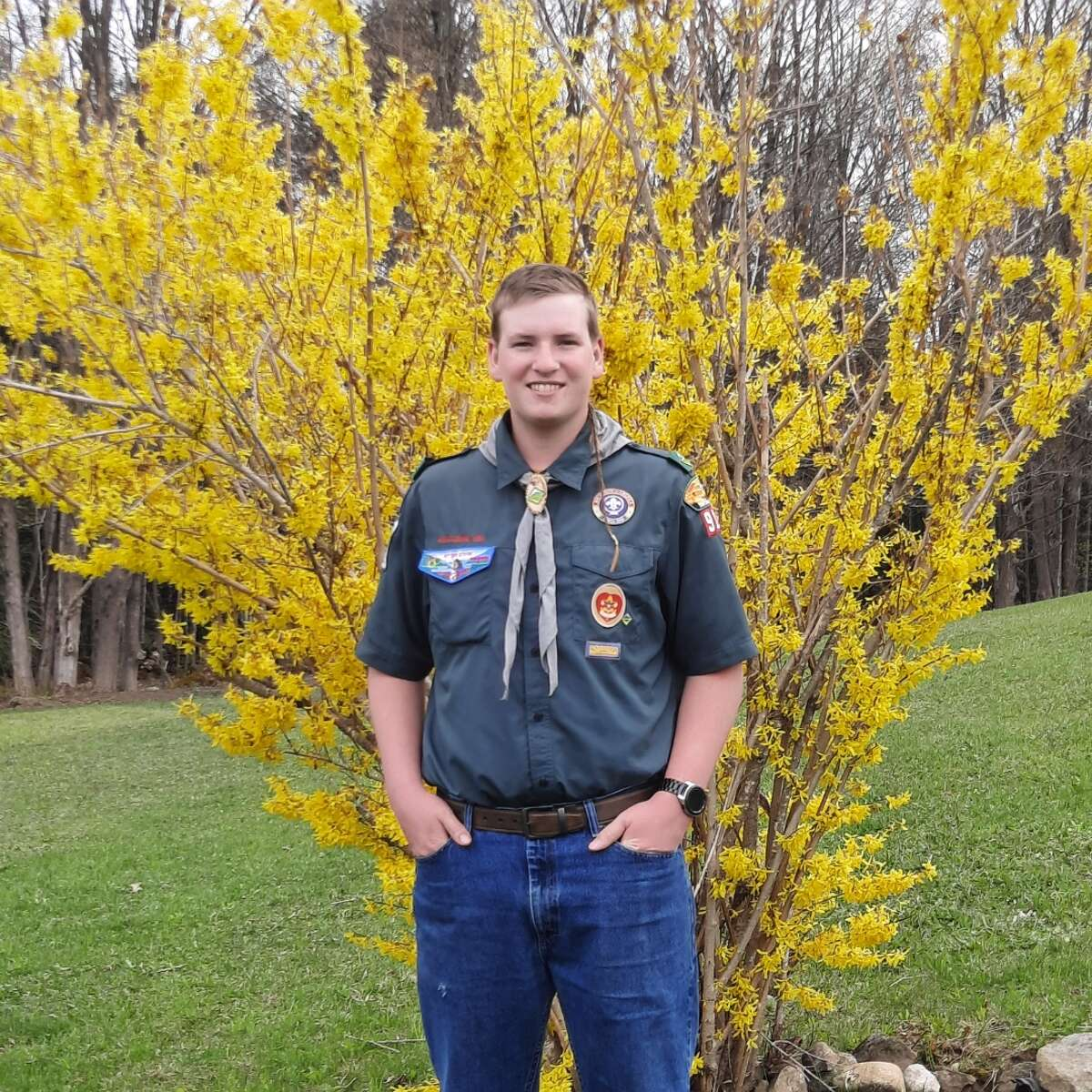 Johnstown Junior Konner Mancini has chosen the Johnstown Junior-Senior High School as the site for his Eagle Scout project with the Boy Scouts of America. Mancini's tree planting celebrates the strength and resiliency that Johnstown educators, staff and students have shown throughout the past year of the pandemic. The 12-foot white oak donated in part by Bob's Trees in Hagaman symbolizes strength and perseverance, with a plaque donated by Letter Memorial in Johnstown recognizes the adversities that the school community overcame this past year. Konner is the son of Linette and Frank Mancini. He is a member of Boy Scout Venturing Crew 3918 of Johnstown where Bruce Lawrence serves as his Eagle Scout coach.