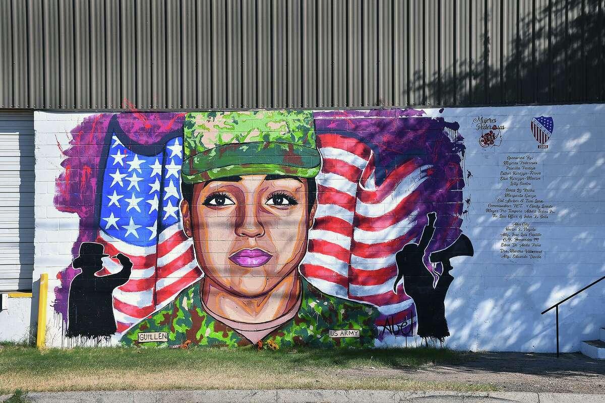 A mural in Laredo of Spc. Vanessa Guillen painted by local artist Abel Gonzalez.