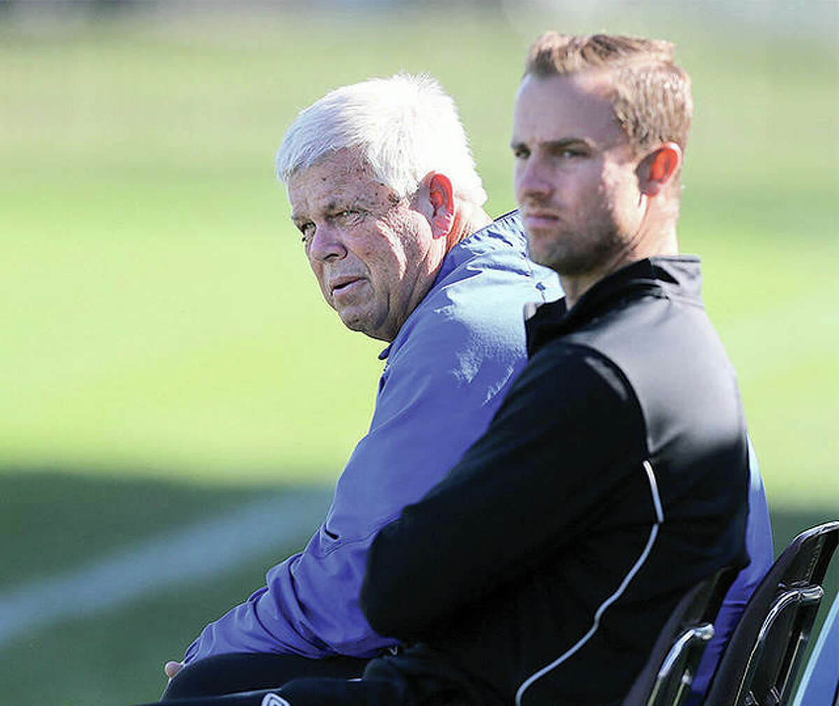 LCCC's women's soccer head coach Tim Rooney, left, and men's coach Ryan Hodge face a lack of games down the stretch as their teams prepare for the postseason following an abbreviated and transplanted-from-fall regular season. Both teams have had multiple games cancelled by opposing teams.