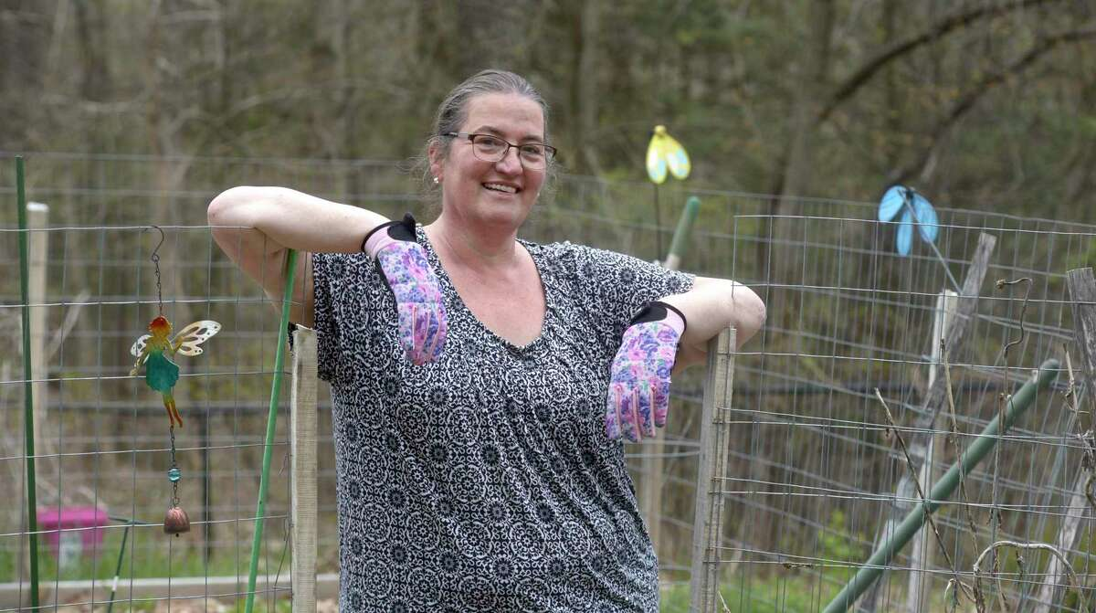 """Wendy Del Monte is one of many gardeners looking to start on their """"Victory Garden"""" in New Milford, Conn. The town started publicizing it on social media last year to provide a distraction during the pandemic. Wednesday, April 28, 2021."""